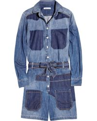 See By Chloé | Blue Stripe Knit Trim Denim Romper | Lyst
