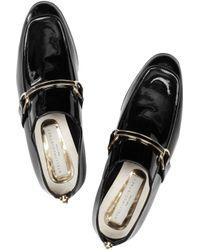 Stella McCartney - Black Faux Patent-leather Moccasins - Lyst