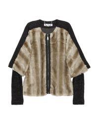 Tibi Brown Taupe Faux Fur Jacket