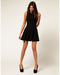ASOS Collection - Black Asos Waisted Dress with Cut Out Shoulder Detail - Lyst