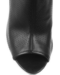 Belle By Sigerson Morrison Black Perforated-leather Peep-toe Ankle Boots
