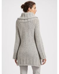 Donna Karan | Gray Hand-knit Wool Tunic Sweater | Lyst