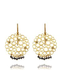 Gurhan | Gold Black Diamond Circle Earrings | Lyst