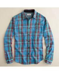 J.Crew | Blue Wallace & Barnes Heavyweight Flannel Shirt in Center Hill Plaid for Men | Lyst