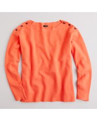 J.Crew | Orange Bateau Button Sweater | Lyst