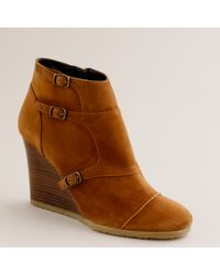 J.Crew | Brown Greer Wedge Ankle Boots | Lyst
