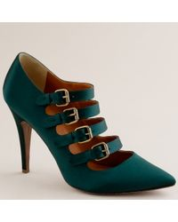 J.Crew | Green Adrianna Satin Buckle Pumps | Lyst
