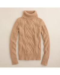 J.Crew | Natural Cambridge Cable Turtleneck Sweater | Lyst