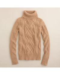 J.Crew | Natural Cambridge Cable Turtleneck Sweater | Lyst