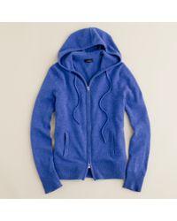 J.Crew - Blue Cashmere Zip-front Hoodie - Lyst