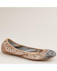 J.Crew | Metallic Lula Glitter Ballet Flats | Lyst