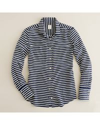 J.Crew | Blue Boy Shirt in Stripe Crepe De Chine | Lyst