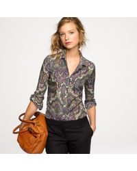 J.Crew | Purple Perfect Shirt In Royal Paisley | Lyst