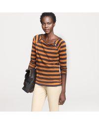 J.Crew | Brown Vintage Cotton Stripe Shoulder-zip Tee | Lyst