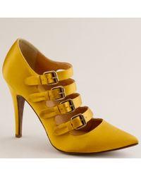 J.Crew | Yellow Adrianna Satin Buckle Pumps | Lyst