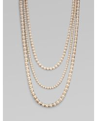St. John | White Triple-strand Faux Pearl Necklace | Lyst
