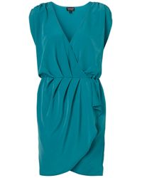 TOPSHOP | Blue Drape Front Dress | Lyst