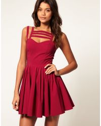 ASOS Collection   Purple Asos Full Skirt Dress with Multi Strap   Lyst