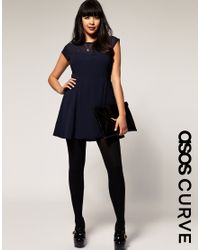 ASOS Collection | Blue Asos Curve Chiffon Dress with Mesh Neckline | Lyst