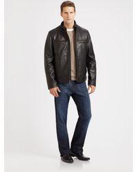 Cole Haan | Black Grainy Leather Moto Jacket for Men | Lyst