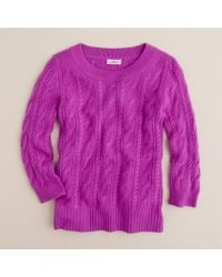 J.Crew | Purple Cashmere Cable Sweater | Lyst
