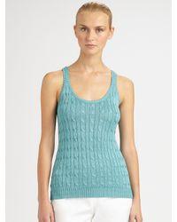 Ralph Lauren Black Label | Blue Silk Cable-knit Tank | Lyst