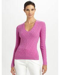 Ralph Lauren Black Label | Pink V-neck Cashmere Sweater | Lyst