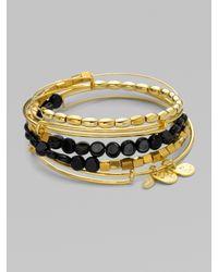 ALEX AND ANI Black Expandable Wire Bracelet Set/onyx