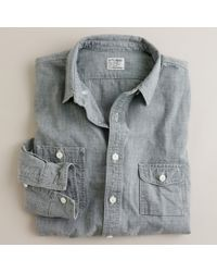 J.Crew | Gray Grey Vintage Chambray Utility Shirt for Men | Lyst