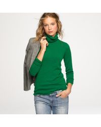 J.Crew | Green Cashmere Turtleneck Sweater | Lyst