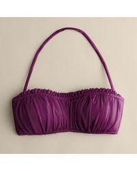 J.Crew | Purple Shirred Ruffle Bandeau Top | Lyst