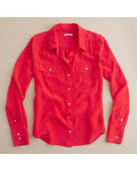 J.Crew | Red Blythe Blouse in Silk | Lyst