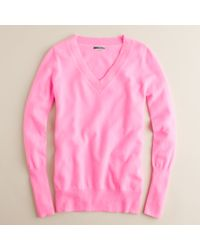 J.Crew | Pink Cashmere V-neck Sweater | Lyst