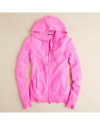 J.Crew Pink Cashmere Zip-front Hoodie