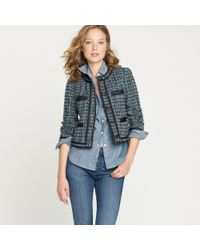 J.Crew | Blue Fanfare Jacket in Peacock Tweed | Lyst