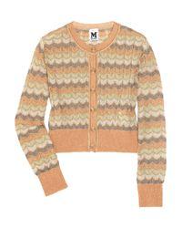 M Missoni Orange Cropped Metallic Crochet-knit Cardigan