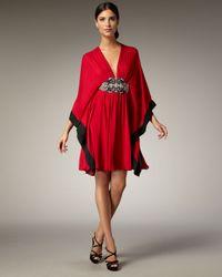 Naeem Khan | Red Jewel-waist Caftan Dress | Lyst