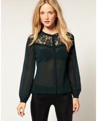 Whistles | Green Tilly Lace Panel Blouse | Lyst