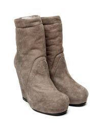Rick Owens | Gray Shearling Wedge Bootie | Lyst