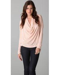 Splendid - Pink 2 X 1 Cowl Neck Top - Lyst