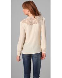 Beyond Vintage | White Crochet Yoke Blouse | Lyst