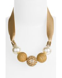 Cara | Metallic Ball & Ribbon Necklace | Lyst