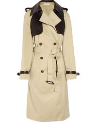 Chloé Natural Leather-trimmed Cotton-gabardine Trench Coat