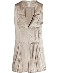 Day Birger et Mikkelsen | Natural Martini Pleated Silk-sateen Top | Lyst