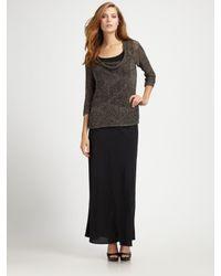 Eileen Fisher Black Silk Georgette Skirt