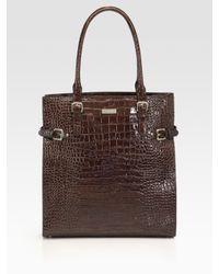 kate spade new york | Brown Jasper Croc-embossed Leather Tote Bag | Lyst