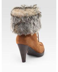 MICHAEL Michael Kors | Brown Lara Suede & Faux Fur Lace-up Ankle Boots | Lyst