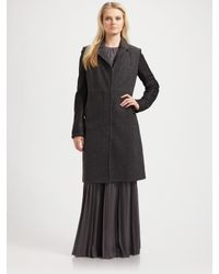 Richard Chai Love | Gray Double-breasted Long Coat | Lyst