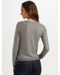 Alice + Olivia - Gray Rhinestone Crewneck Sweater - Lyst