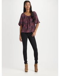 Joie | Purple Newbury Silk Abstract Paisley Convertible Blouse | Lyst
